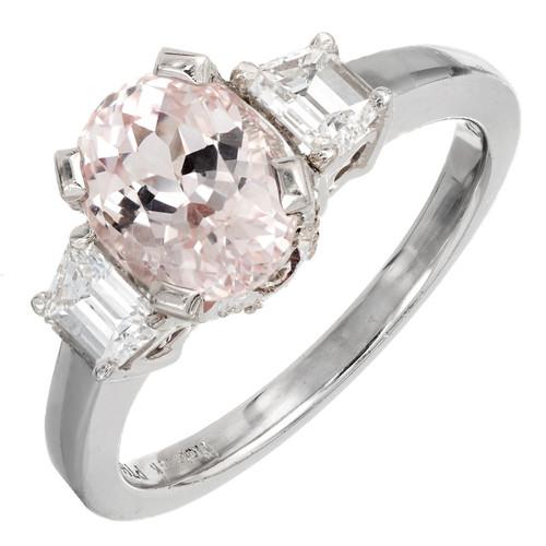 Natural Peach And Orange Sapphire And Diamond Platinum Ring