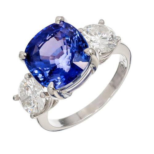 Vintage 7.72ct Cushion Natural Blue Sapphire 1.70ct Diamond Platinum Ring