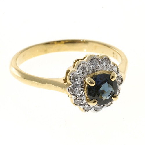 Vintage Cornflower Blue .63ct Sapphire .16ct Diamond 18k Gold 1940s Retro Ring