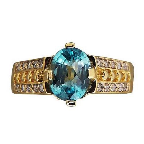 Vintage 2.50ct Oval Blue Zircon 18k Yellow Gold .20ct Full Cut Diamond Ring