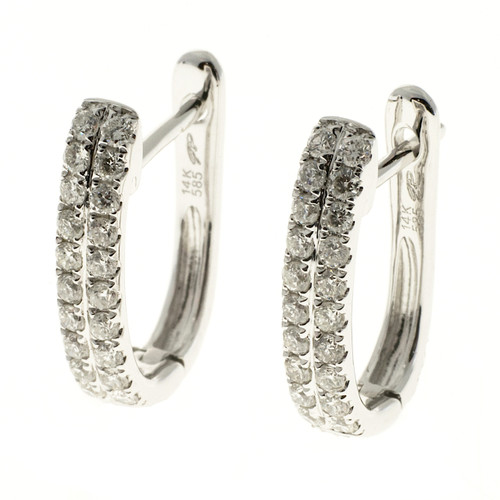 GP .46 Carat Diamond White gold Diamond Huggie Hoop Earrings