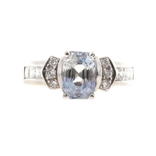 Vintage 2.58ct Light Violet Natural Sapphire KD 18k Gold .58CT Diamond Ring
