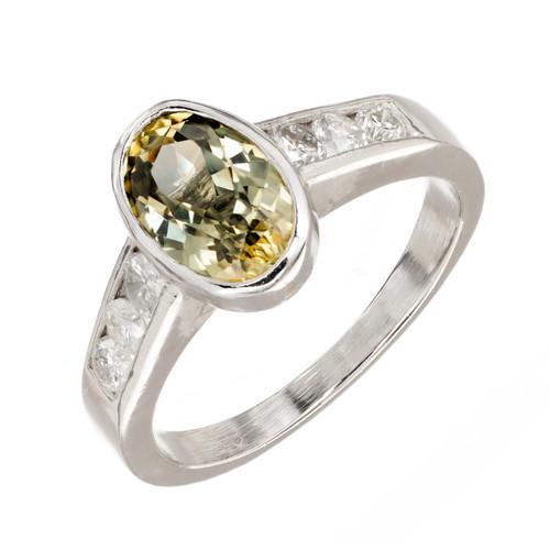 Vintage 2.20ct Green Yellow Natural No Heat Sapphire Platinum .36CT Diamond Ring