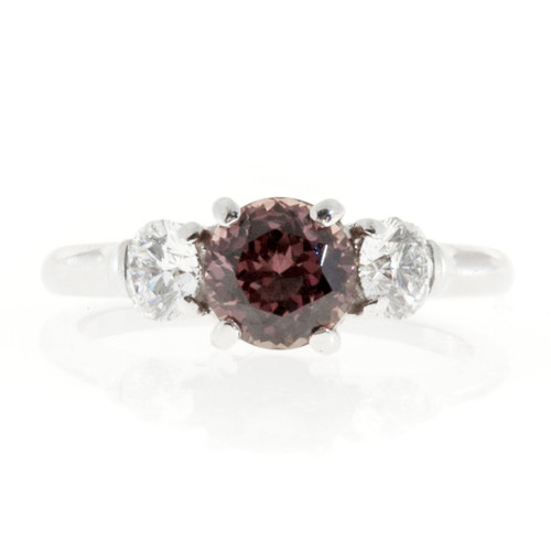 Vintage 1.13ct Natural No Heat Raspberry Brown Pink Sapphire .48ct Diamond Ring