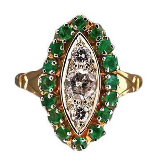 Estate 1950s Medium Green Emerald & Diamond 14k Yellow Gold Ring