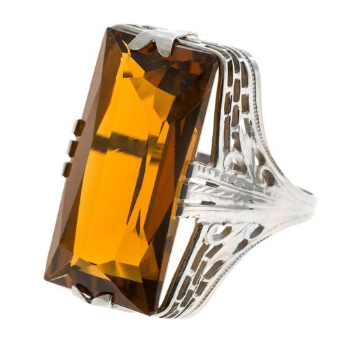 Vintage 15.00ct 14k White Gold 1940 Filigree Natural Orange Yellow Citrine Ring