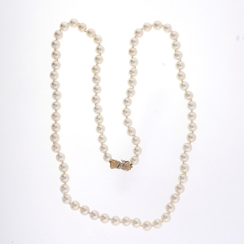 .2 Carat Diamond Pearl  Yellow Gold Akoya Cultured Necklace