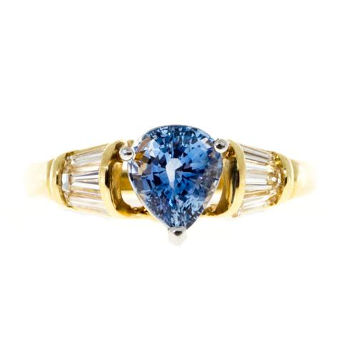 Vintage 2.27CT Pear Periwinkle Sapphire 18K and Platinum Baguette Diamond Ring