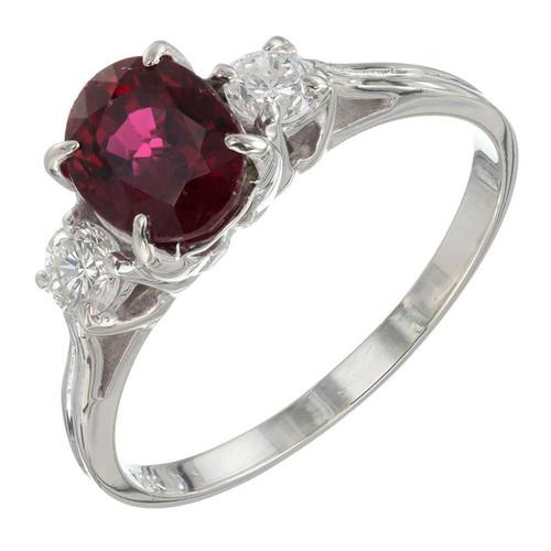 1.07 Carat Ruby Diamond White Gold Three-Stone Engagement Ring