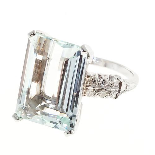 Natural Aquamarine Diamond Platinum Ring c1920