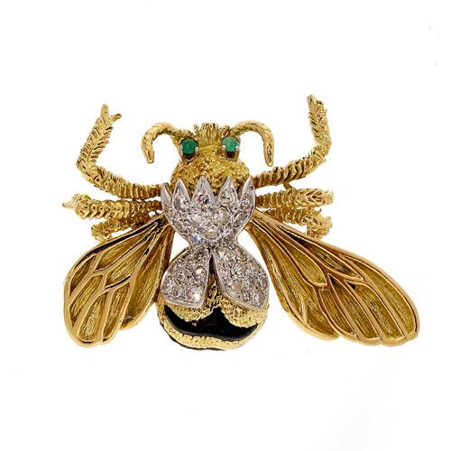 .60 Carat Diamond Jade Yellow Gold  Bee Brooch