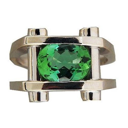 Vintage Estate 2.90ct Green Tourmaline .20ct Diamond 14k White Gold Ring