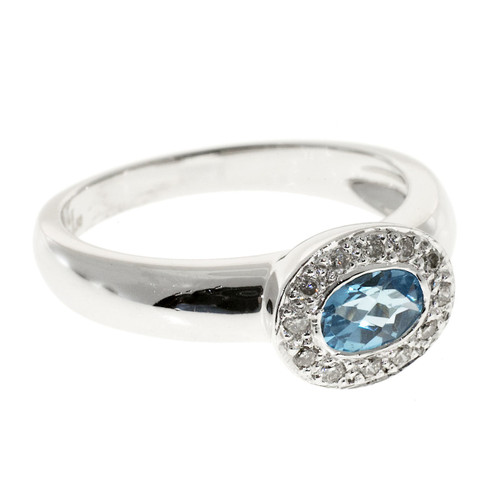 Vintage Estate Zen 14K White Gold .50CT Blue Topaz .12CT Diamond Ring