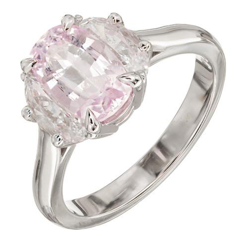 Vintage 2.24ct Natural Light Pink Cushion Sapphire .76ct Diamond Platinum Ring