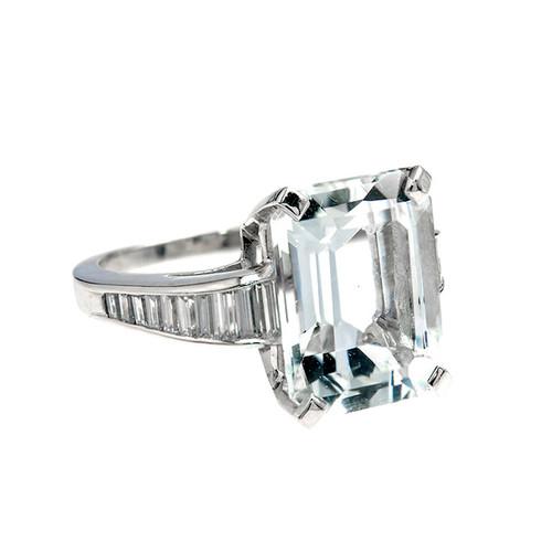 Aqua Diamond Platinum Ring 1920s