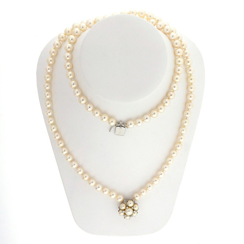 Pearl 14k White Gold Double Strand Necklace