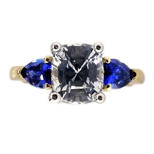 Vintage Engagement Ring 1.88ct Cushion cut White and Blue Sapphire 18k Platinum