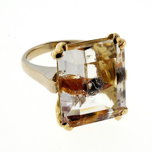 13.33 Carat Quartz Manifestor Crystal Yellow Gold Ring