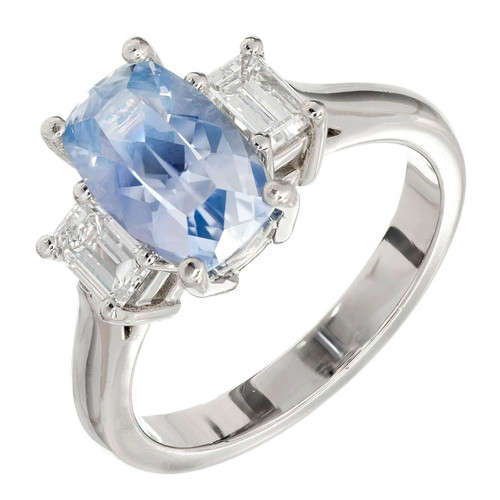 GIA 2.79 Carat Natural Sapphire Diamond Three-Stone Platinum Engagement Ring