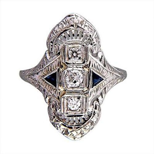Vintage Estate Art Deco 1940 Filigree Ring .18ct Diamond Triangle Sapphire 18k
