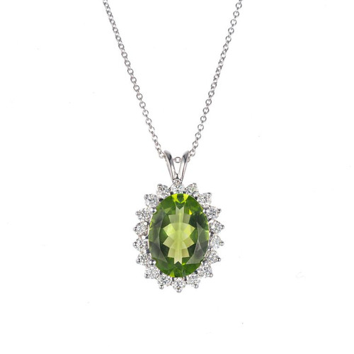GP 3.50 Carat Peridot Diamond White gold Necklace