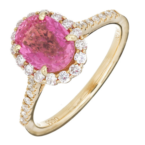 Engagement Pink Sapphire 2.41ct Oval Halo 18k .55ct Diamond Ring
