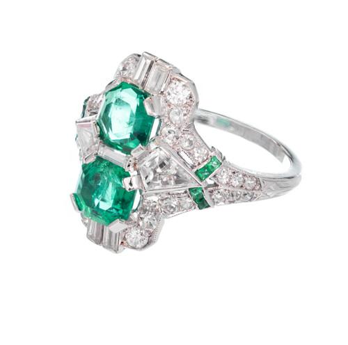 1.20 Carat Emerald Diamond Art Deco Platinum Cocktail Ring