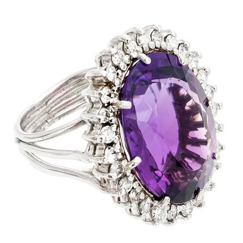 20.00 Carat Amethyst Diamond Handmade Platinum Wire Ring