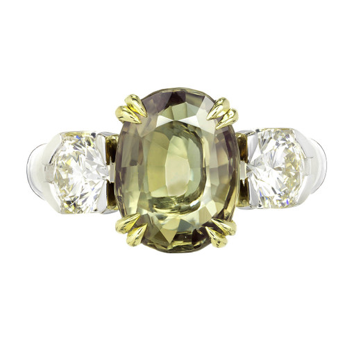 Peter Suchy 5.40 Carat Natural Alexandrite Diamond Platinum Gold Engagement Ring