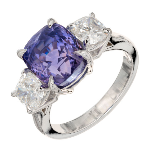7.06 Carat Purple Sapphire Diamond Platinum Three-Stone Engagement Ring