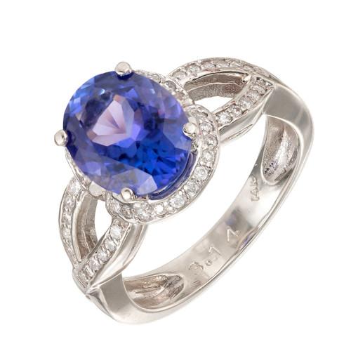 Violet Blue 3.14ct Tanzanite 14k White Gold Diamond Ring