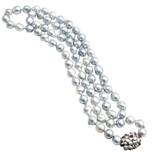 Vintage 1950 Mid Century 36 Inch Silver Blue Cultured Pearl Baroque Necklace