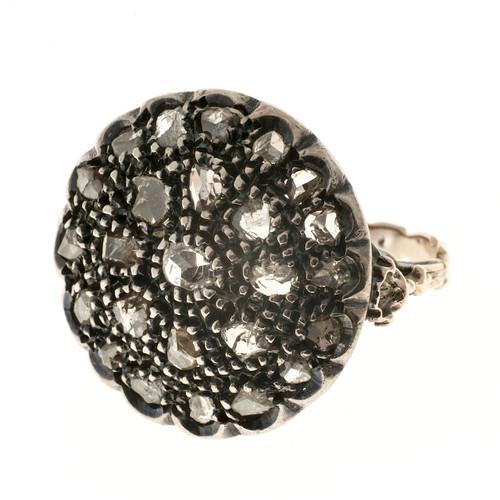 Estate 1830'S Rose Cut Diamond 14k Yellow Gold Silver Top Engraved Bead Set Ring