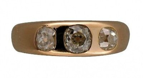 Vintage T.B. Star Late 1800'S 14k Rose Gold 3 Antique Cushion Cut Diamond Ring