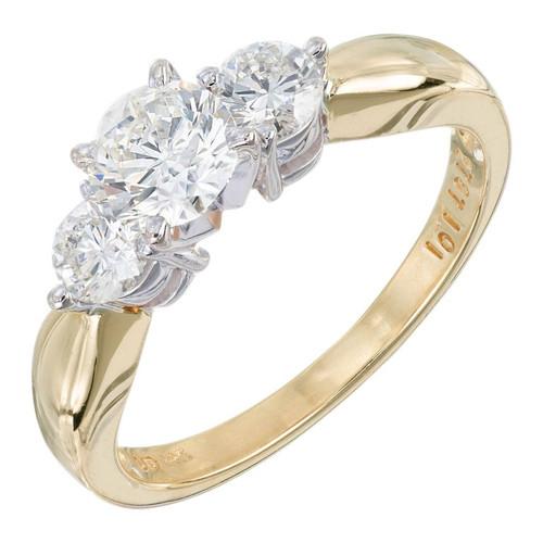 1.01 Carat Diamond Yellow White Gold Three-Stone Engagement Ring