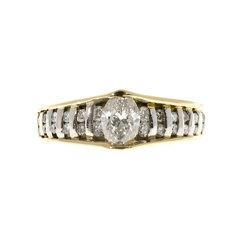 Estate 14k Yellow and White Gold Bar Set Marquise Center Diamond & Round Ring