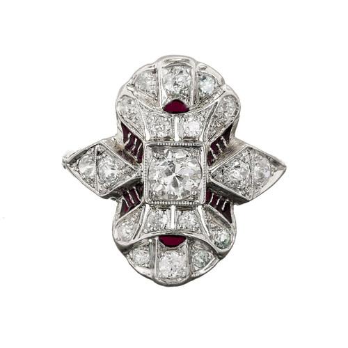 Estate 1920 Platinum Filigree Bright Blue Enamel Pave Set Diamond 18k Shank Ring