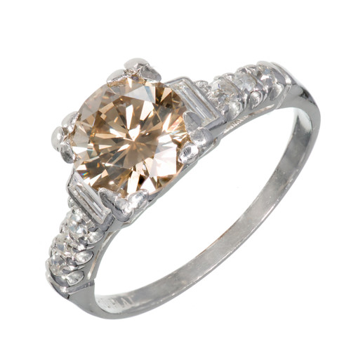 1.35 Carat Art Deco Transitional Cut Brown Diamond Platinum Engagement Ring