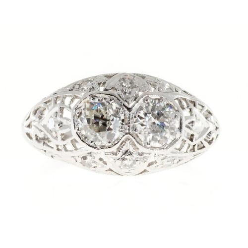 Vintage Solid Art Deco Platinum Hand Pierced Filigree Dome Ring 10 Diamonds