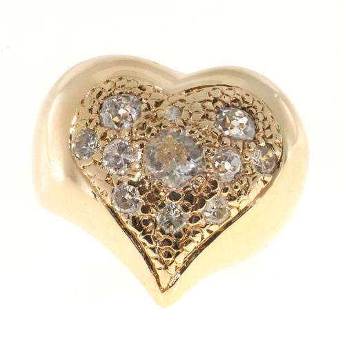 Estate 14k Yellow Gold Heart Shape Pave Set Old Mine Cut Round Diamond Ring