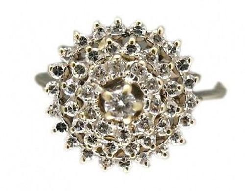 Estate 18k White Gold Spiral Domed 48 Round Diamond .75ct Cluster Ring