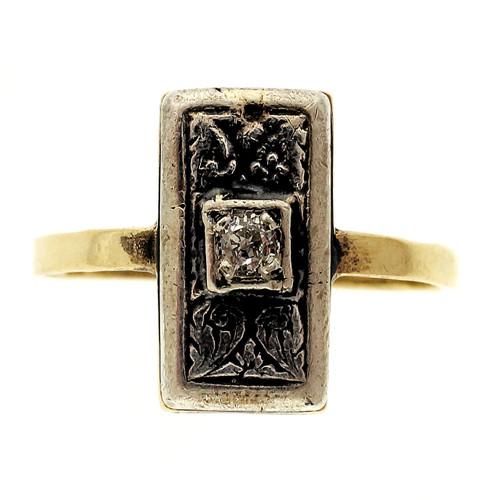 Victorian .6 Carat Diamond Rose Gold Silver Ring