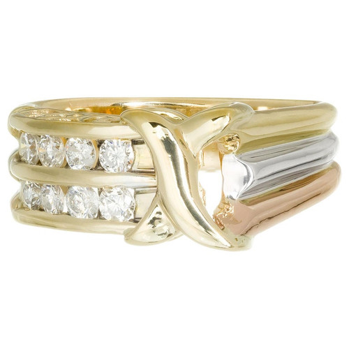 .40 Carat Diamond Tri Color Gold Band Ring
