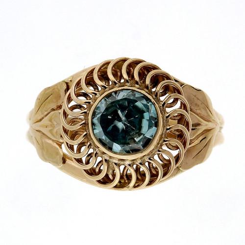 Art Deco .70 Carat Blue Zircon Rose Gold Ring