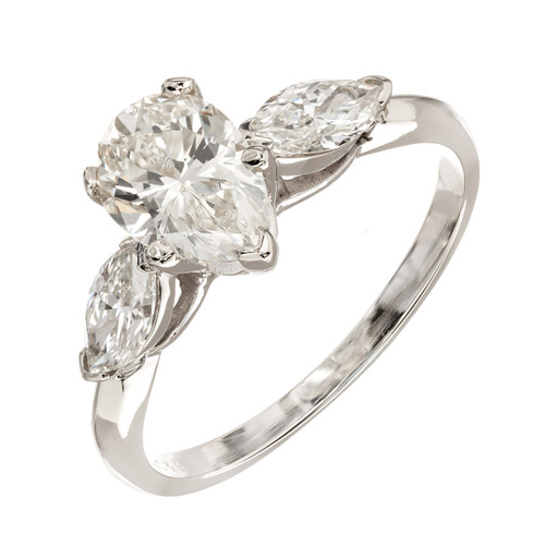 Vintage Gc&G Design 1.25ct Pear & 2 Marquise Diamond 14k Gold Engagement Ring