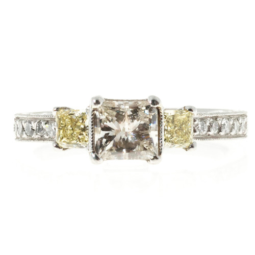 Estate Radiant Cut White & Fancy Yellow Diamond Micro Pave Sides Ring