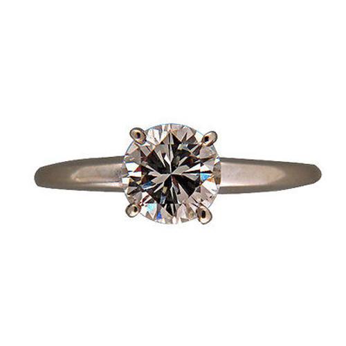 Vintage .96CT Brilliant Cut Center Diamond 14k White Gold 4 Prong Ring Star Blue
