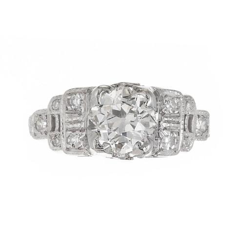 .81 Carat Diamond Cushion Cut Art Deco Platinum Engagement Ring