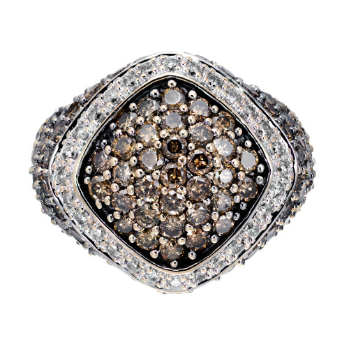 2.30 Carat Brown White Diamond Dome Gold Cocktail Ring