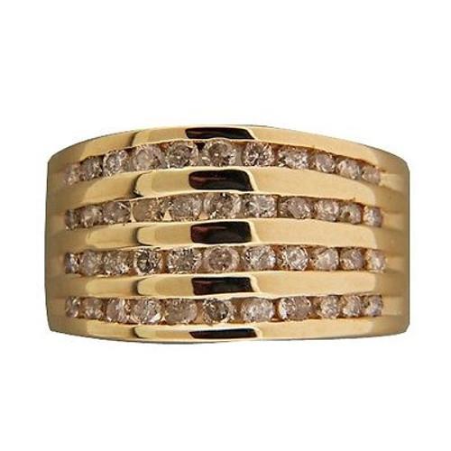 Vintage 11mm 4 Row .70ct Full Cut Round Full Cut Diamond 14k Yellow Gold Ring
